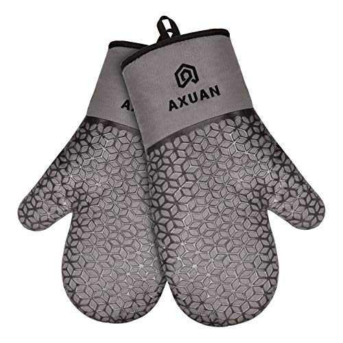 AXUAN Oven Mitts, Cook Mittens Heat Resistant Comfort Safety Kitchen Gloves with Quilted Liner Recycled Cotton Infill Professionally Protect Hand for Baking BBQ Carry Hot Pot