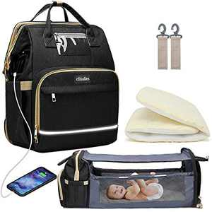Diaper Bag Backpack, Multifunction Diaper Bag Large Capacity Waterproof Baby Changing Bags for Mom and Dad, with USB Charging Port and Insulated Bottle Pockets (Black)
