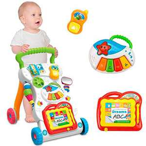 US Shippment - Baby Walker Stroller Baby Early Education Exercise Limbs Multifunctional Walker with Musical Toys (Multicolor)