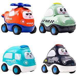 HAOMUK Pull Back Cars for Toddlers, 4 Pack Cartoon Toy Cars Trucks for Boys Girls, Friction Powered Inertia Cars Toy Gift for Babies, Toddlers and Kids 1-6 Years Old