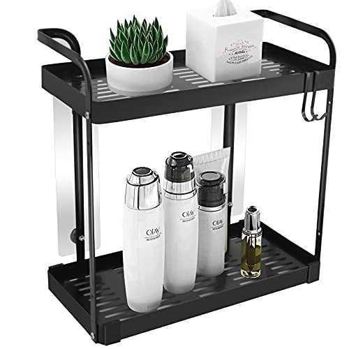 QDH 2-Tier Standing Rack Wall Shelf-Bathroom Organizer Countertop Storage Shelf Metal Cosmetic Organizer Holder Kitchen Spice Rack with Guardrail and Mesh Design(Black)