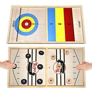 Fast Sling Puck Game Paced Large - Table Desktop Battle Double Side Wooden Ice Hockey Game, Foosball Slingshot Winner Board Games Toys for Adults Parent-Child Interactive Chess Board Game (22x11.8 in)