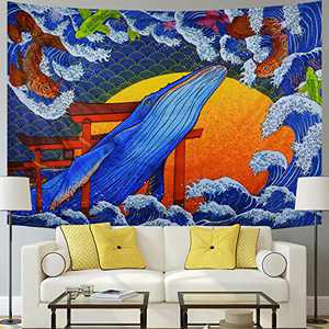 Japanese Ukiyo-e Tapestry Whale Tapestry Blue Sea Wave Tapestry Sunset Koi Animal Tapestry Wall Hanging for Bedroom