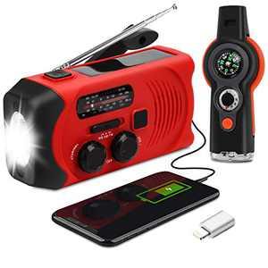 Emergency Weather Radio - Maxuni Solar Hand Crank Portable NOAA Weather Radio with AM/FM, LED Flashlight, USB Charger and SOS Alarm (Red/Black)