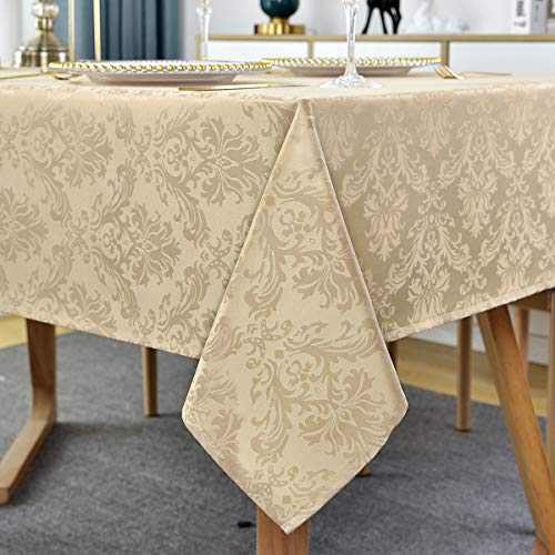 Square Tablecloth -52 Inch Flax Damask Table Cloth Jacquard Design Spill Proof Wrinkle Resistant Waterproof Soft Polyester Table Cover for Kitchen Parties Tabletop