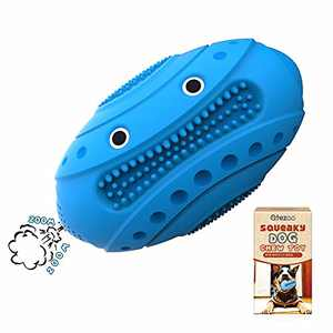 Qtezoo Dog Chew Toys for Aggressive Chewers Almost Indestructible Dog Squeaky Toys Tough Durable Dog Toothbrush Toys Interactive Cute Natural Rubber Chew Football for Large Medium Breed (Blue)