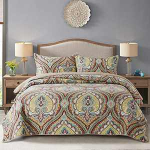 Homcosan Cotton Bedspread Quilt Sets Queen/Full Size (90x98 inches), Reversible Crown Chic Floral Patterns, 3-Piece Bedding, Lightweight Coverlet for All Season (1 Quilt + 2 Pillow Shams)
