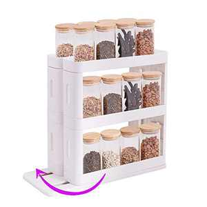Spice Rack Organizer For Cabinet ,Can Organizer For Pantry ,Pull Out Shelves For Kitchen Cabinets 15.7×6.9×13.4 in,3 tier