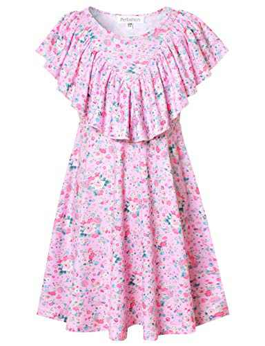 Teen Girls Floral Dress Ruffle Sleeve Casual Twirl Dresses with Pockets Swing Beach Dress 10 11