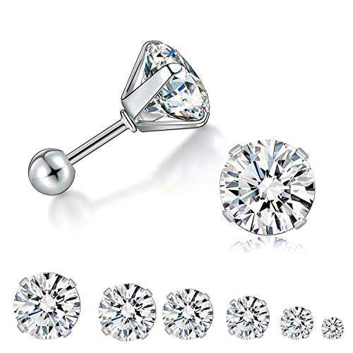 6 Pairs 3-8mm Cubic Zirconia Stud Earrings Set, 316L Hypoallergenic Surgical Stainless Steel Piercing Cartilage Fashion Helix Earrings for Women Men and Girls (4-prong screw ball stud)