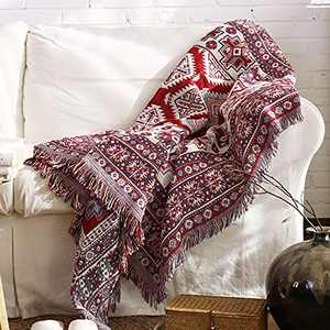 """Y-PLWOMEN Boho Throw Blanket, 50""""x70"""", Mexican Cotton Woven Bed Throw with Fringe, Red Soft Reversible Blanket Decor, Decorative for Couch Sofa Bed Chair Outdoor Camping…"""