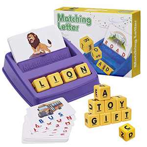 Matching Letter Game for Kids Toys Ages 3-8,Preschool Learning Spelling Games for Kids Ages 3-8 Year,Increases Memory and Spelling,Xmas Gifts for 3-8 Year Old Boys Girls (Purple)