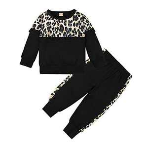 DISAUR Toddler Girl Clothes Cute Leopard Ruffle Sweater Infant Girl Clothes Outfits Long Sleeve Tops Pants Set Black