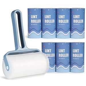O BRUSHZOO Lint Rollers for Pet Hair Extra Sticky with Extra 7 Lint Roller Refill (60 Sheet per Refill, Total 480 Sheets), Lint Roller for Clothes, Sofa, Carpet, Bed, or Car Seats (Blue)