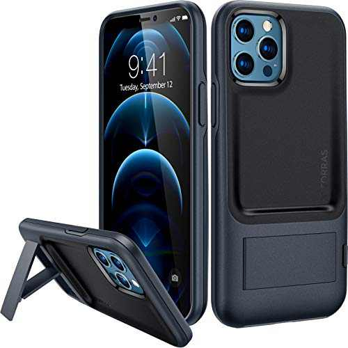 TORRAS [One-Click] Kickstand Compatible for iPhone 12 Case/iPhone 12 Pro Case, 8FT Military Grade Drop Tested Shockproof Phone Case Designed with iPhone 12/12 Pro 6.1 Inch,(UPRO Series - Black)