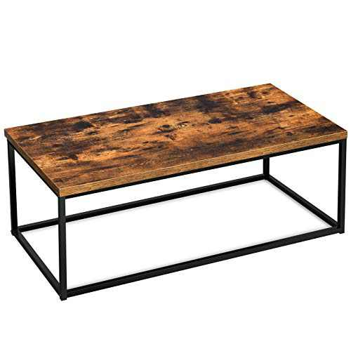 YITAHOME Industrial Coffee Table with Storage, 44 inch Simple Tea Table with Metal Frame, Rectangular Coffee Table for Living Room, Easy Assembly, Rustic Brown