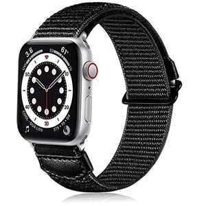 Ouwegaga Compatible for Apple Watch Band, Soft Breathable Sport Adjustable Weave Loop Nylon Wristbands Strap for iWatch 42mm Band Series SE 6 5 4 3 2 1,Women Men Black
