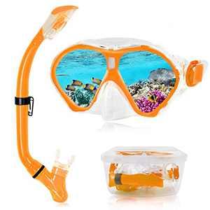 Aisrida Children Snorkel Set Kids Snorkel Mask + Foldable Dry Snorkel Tube Kids Snorkeling Set with PP Box for Children Age 4-12 (Orange)