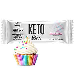 Genius Gourmet Gluten Free Keto Protein Bar, All Natural White Chocolate Keto Bars, Premium MCTs, Low Carb, Low Sugar (Birthday Cake, 12 Count (Pack of 1))