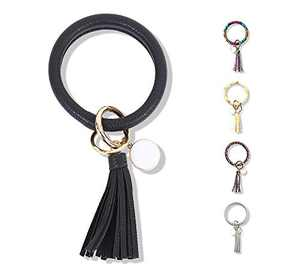 FindFun Key Ring Chain Wristlet Keychain Bracelet for Women Girls Leather Tassel Bangle Key Ring (Black)
