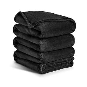 Ocness Fleece Throw Blankets Queen Size Velvet Throws Utra Soft Lightweight Decor for Couch, Bed, Plush Fuzzy Flannel Microfiber Warm Thermal Blanket All Seasons(Black, 90x90)