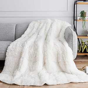 "Uttermara Faux Fur Weighted Blanket 20lbs, Super Soft Plush Fleece and Cozy Sherpa Reverse, Shaggy Long Fur Throw Blankets 60""x80"" Cream"
