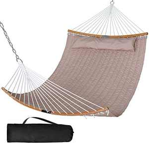 SUNCREAT 13.8 FT Hammocks Quilted Fabric Double Hammock with Detachable Curved Bamboo Spreader Bar and Soft Pillow, Max 450 lbs Capacity, Brown