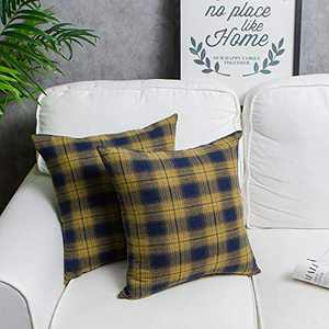 ZWJD Pillow Covers,Set of 2 Buffalo Check Plaid Throw Pillow Covers for Christmas Daily Home Decorations Cushion Case Cotton Polyester for Farmhouse Home, 18 x 18 Inches