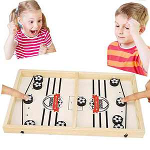 CABINAHOME Fast Sling Puck Game Desktop Battle 2 in 1 Ball air Hockey Game Super Winner Board Games Foosball Slingshot Table Game Wood Interactive Chess Toy for Kids Family (Football)