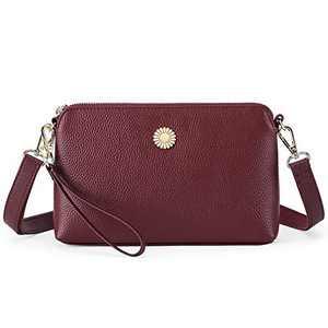 GOIACII Women Leather Crossbody Bag,Wallet Wristlet Handbag For Lady,Fashion Clutch phone (WA-Wine Red)