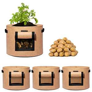 Delxo 3 Pack 10 Gallon Potato Grow Bags,Vegetable 10Gallon Grow Bag with Velcro Window,Double Layer Premium Breathable Nonwoven Cloth for Potato/Plant Container/Aeration Fabric Pots with Handles Brown