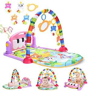 WYSWYG Baby Play Mat, Tummy Time Mat Baby Play Gym Kick and Play Piano Gym with 5 Infant Learning Sensory Baby Toys, Baby Shower Gifts for Newborn Baby 0 to 3 6 9 12 Months