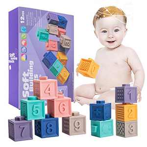 JETM·HH Baby Building Blocks, Soft Stacking Toy, Chewable, Squeeze, Silicone Bath Toys for Infants 6-12 Months, 12 Pcs Number with Convenient Storage Pouch