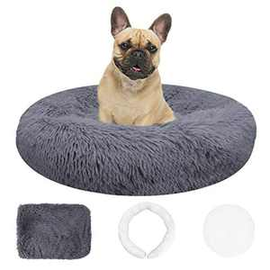 XIRGS Calming Dog Bed, Washable Soft Donut Warm Pet Cat Cushion with Removable Cover, Round Fluffy Snuggle Nest Comfort for indoor Small Medium Pets Sleeping Sofa Mat with Cozy Sponge Non-Slip Bottom