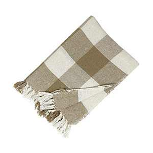 """Elrene Home Fashions Farmhouse Living Buffalo Check Cozy Fringe Blanket Throw for Couch/Sofa/Bed/Everyday, 50""""x60"""" (Single, Tan"""