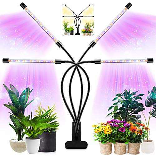Grow Light for Indoor Plants Four Head LED Growing Light 80 LED Lamps Full Spectrum Plant Growing Lamps 3 Switch Modes 10 Brightness Settings for Indoor Plants Growth (No AC Adapter)