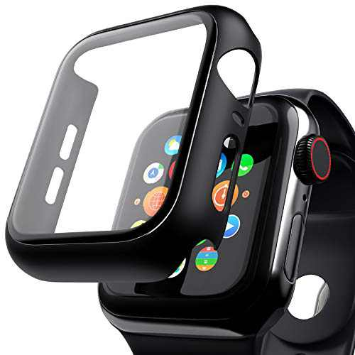 [ 2 Pack ] Case Compatible with Apple Watch Series 44mm Series 6/5/4/SE Full Coverage Tempered Glass Screen Protector Hard Cover Defense Edge - Black