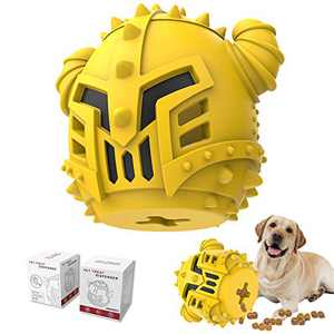 PIFFZEDO Dog Chew Toy Slow Feeder for Aggressive Chewers Large Medium Breed and Puppy Natural Rubber Dog IQ Training Ball Teeth Grinding Nearly Indestructible Interactive Toy Treat Dispenser (Yellow)