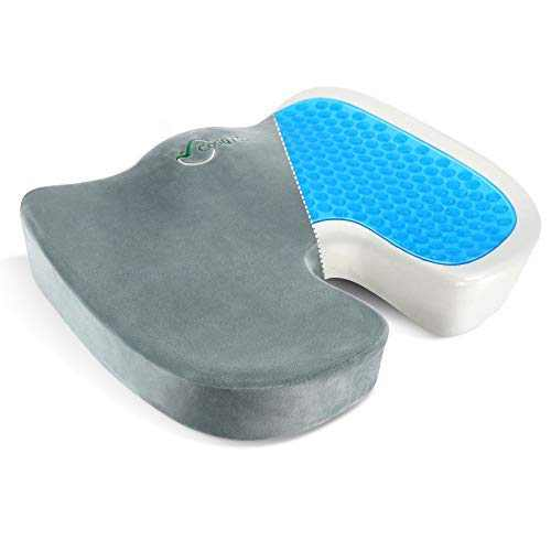CosyTech Gel Seat Cushion for Office Chair - Desk Chair Cushion for Butt - Non-Slip Orthopedic Sitting Pillow with Pure Memory Foam - Lower Back, Tailbone, Coccyx & Sciatica Pain Relief