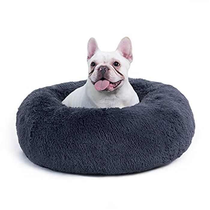 BEDSURE Donut Dog Bed Medium - Calming Fluffy Round Cuddler Washable Puppy Dog Cat Bed Nest, Grey, 60×60×20cm