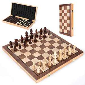 Wooden Chess Set 15 In, MagneticFolding Portable Compact Travel Chess Board Handcrafted Set, Beautifully Carved Pieces + Foam Storage Slots + 2 Extra Queens + Gift Box, for Kids Adults Beginners' Set