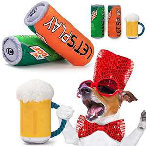 AWOOF Squeaky Dog Toys, 3 Pack Dog Toys Small Dogs Toys - Cute Beer Funny Plush Parody Dog Toys Gift with Squeaker