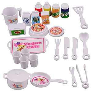 MORECON Kitchen Playset Pretend Food - 25 PCS Kitchen Toys for Toddlers, Toy Accessories Set Kitchen Cooking Set Tea Playset Toy Early Age Development, for Kids, Girls & Boys