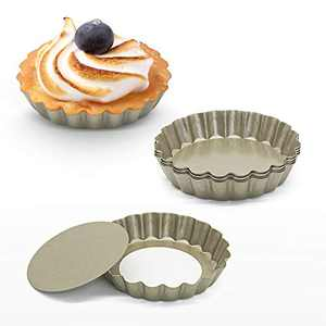 """4"""" Quiche Pans with Removable Bottom, Non-stick, Fluted Sides, Mini Tart Pans, Set of 6(Gold)…"""