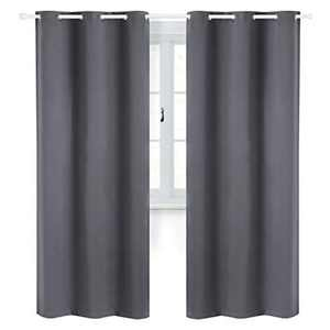 Bedsure Bedroom Blackout Curtains Eyelet - Living Room Thermal Black Out Curtains, Dark grey, Noise Reduction,42 x 63 Inch, 2 Panel Sets