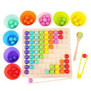 Wooden Go Games Set Dots Beads Board Games Toy Rainbow Clip Beads Puzzle