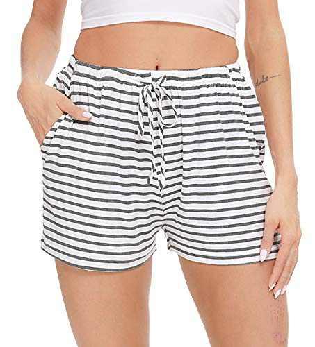 Women Strip Pajama Shorts Lounge Bottom with Pockets Lightweight Sleepwear Drawstring Pj Bottoms Sleep Pants Dark Grey