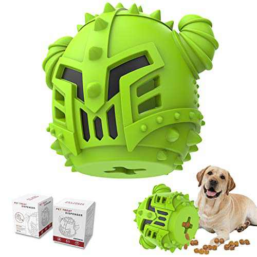 PIFFZEDO Dog Chew Toy Slow Feeder for Aggressive Chewers Large Medium Breed and Puppy Natural Rubber Dog IQ Training Ball Teeth Grinding Nearly Indestructible Interactive Toy Treat Dispenser (Green)