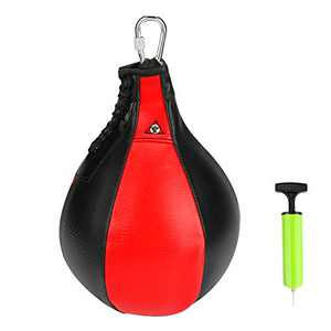 Speed Punch Bag Leather Hanging Striking Bag Punching Ball with Pump and Metal Hook for Boxing MMA Muay Thai Fitness Fighting Sport Training Suit for Kids Men Women (Red)