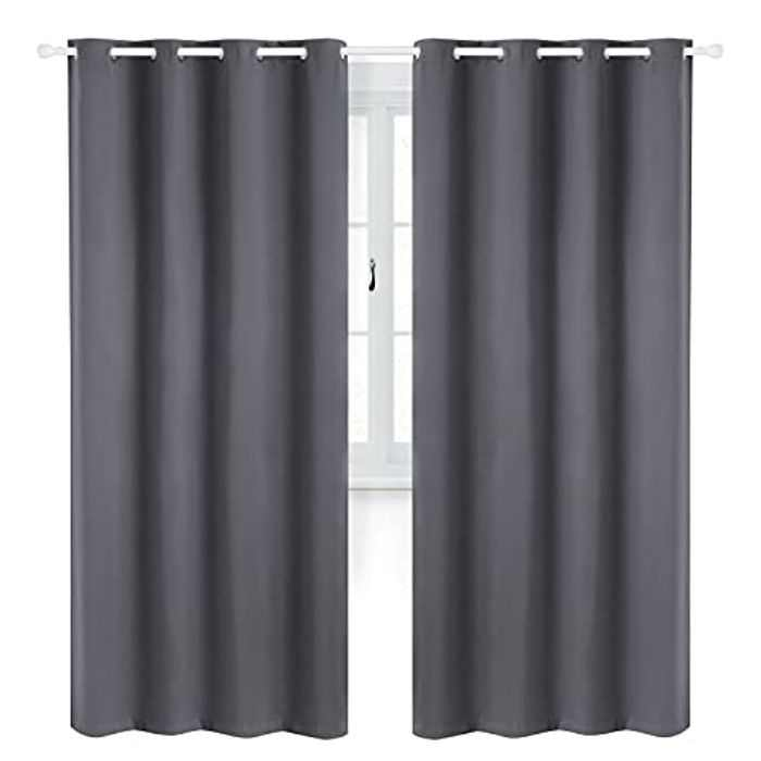 Bedsure Bedroom Blackout Curtains Eyelet - Living Room Thermal Soundproof Curtains, 46 x 54 Inch, 2 Panel Sets, Dark grey